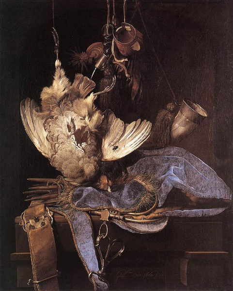 Still life with hunting equipment and dead birds