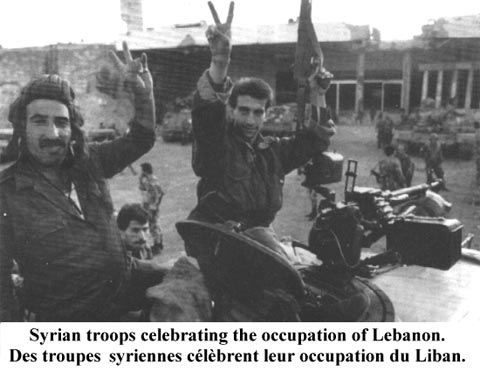 Syrian soldiers attacking Lebanon
